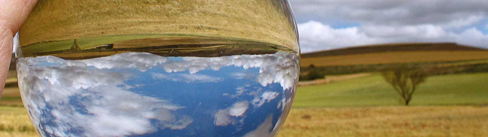 Image of a crystal ball held up to a landscape of fields, by Jacinta Iluch Valero on Flickr